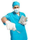 Medical student with a scalpel Stock Photos
