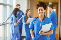 Medical student smiling at the camera. At the university royalty free stock images