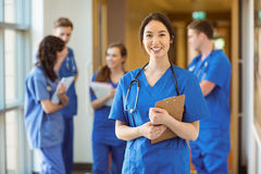 Medical student smiling at the camera. At the university Stock Images