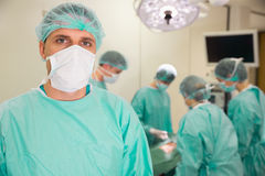 Medical student in surgical gear Royalty Free Stock Images