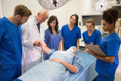 Medical students and professor checking pulse of student Stock Images