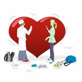 Medical students treatng a big heart. Vector illustration Royalty Free Stock Photography