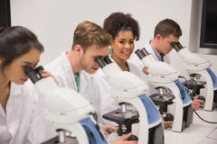 Medical students working with microscope Royalty Free Stock Photos