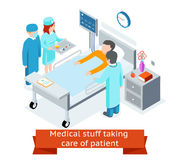 Medical stuff taking care of patient in the. Medical stuff taking care patient in hospital ward. 3D isometric. Medicine and health, healthcare and specialist Stock Image