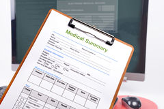 Medical summary on clipboard. Royalty Free Stock Image