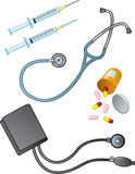 Medical Supplies. A collection of commonly used medical supplies, instruments, and medications Stock Images
