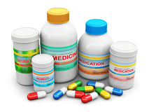 Medical supplies. Creative abstract healthcare, medicine and pharmacy industry business concept: 3D render illustration of the group of health care medical Royalty Free Stock Photography