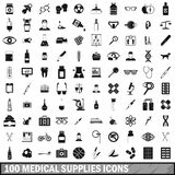100 medical supplies icons set, simple style. 100 medical supplies icons set in simple style for any design vector illustration Stock Images