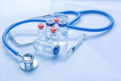 Medical supplies on light background. Vaccination concept stock photo