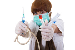 Medical supplies. Nurse holding in her hands medical supplies Stock Images