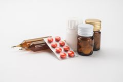 Medical supplies. On the table Stock Image