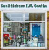 Medical supply store with the name of Goethe in Muehlhausen, Ger. MUEHLHAUSEN, GERMANY - JAN 17, 2016: old shop window of a  medical supply store with the name Stock Photos