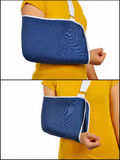 Medical Support Hand Sling. Set Images of woman wearing hand sling because get accident Royalty Free Stock Photo