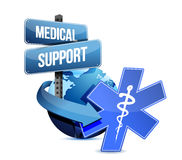Medical support sign. globe with medical symbol Stock Photography