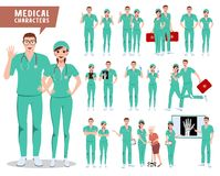 Medical surgeon vector character set. Doctor, nurse and hospital workers royalty free stock images