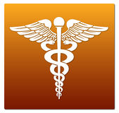 Medical symbol. In red and orange background Royalty Free Stock Photos