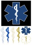 Medical symbol. Set of Medical Symbols - Star of Life, Aesculapius staff Royalty Free Stock Images