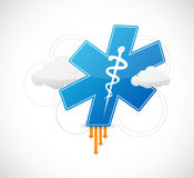 Medical symbol and binary clouds illustration. Design over white Stock Images