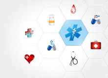 Medical symbol diagram network of shapes. Over a white background Royalty Free Stock Photo