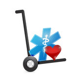 Medical symbol and heart on a dolly. Royalty Free Stock Photos