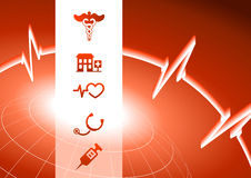 Medical Symbol Icons on red wire globe background Stock Image