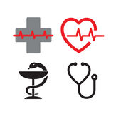 Medical symbol icons. Vector Medical symbol icons on white background Royalty Free Stock Photography