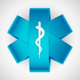 Medical Symbol. Illustration of paper medical symbol with serpent and stick stock illustration