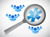 Medical symbol, magnify glass and people Stock Photos