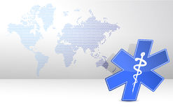 Medical symbol and map Stock Photography