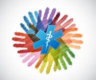 Medical symbol over diversity hands circle Royalty Free Stock Photo
