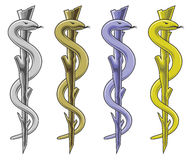 Medical Symbol - Rod of Asclepius. Is an illustration of the medical symbol in silver, gold, blue and yellow Stock Photos