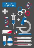 Medical symbol set of icons. Set of vector flat design icons Stock Images
