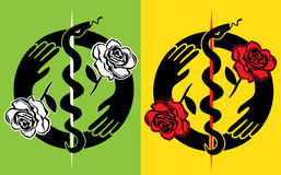 Medical symbol snake with holding hands symbol and roses illustration Stock Image