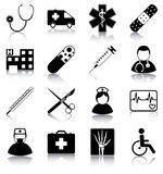 Medical symbols. 16 medical related vector silhouettes vector illustration
