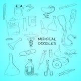 Medical symbols emblems doodle set Stock Photography