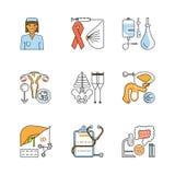 Medical symbols isolated. Medicine outline flat icons set. Medical symbols isolated on white background. Vector illustration eps 10 stock illustration