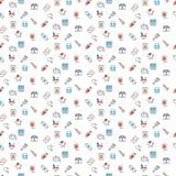 Medical symbols seamless pattern. Medical related symbols seamless pattern design in red and blue Royalty Free Stock Photo