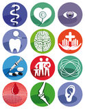 Medical symbols. A set of colorful medical and healthcare symbols on white background Stock Photography
