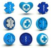 Medical symbols. Set of first aid medical cross signs. 3d render illustration Stock Photos