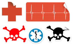 Medical symbols on stickers Stock Photos