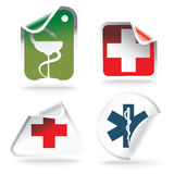 Medical symbols on stickers Royalty Free Stock Photo