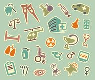 Medical icons. Vector illustration. The medical symbols on stickers. Vector illustration Stock Photography
