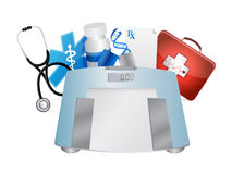 Medical symbols and weight scale, illustration Royalty Free Stock Photos