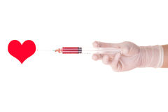 Medical syringe and heart concept Royalty Free Stock Photo