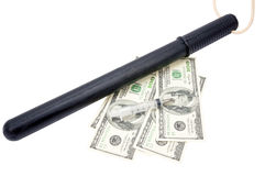 Medical syringe, paper money and Rubber baton Royalty Free Stock Images