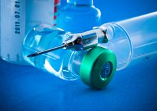 Medical syringe and phials Royalty Free Stock Images