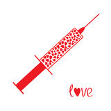 Medical syringe with red hearts inside. Love card. Stock Photos