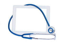 Medical tablet with blue  stethoscope Stock Photo