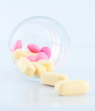 Medical tablet in prescription glass. Show medicine concept Royalty Free Stock Images