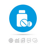 Medical tablets bottle sign icon. Drugs symbol. Stock Photo